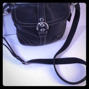 "Black two compartment Coach Crossbody,  9""x8"""